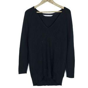 Athleta Merino V-Neck Black V Neck Tunic Sweater